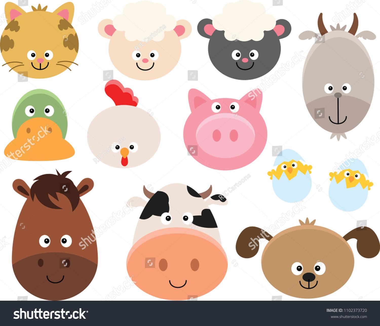 hight resolution of set of cartoon farm animal faces clipart