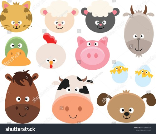 small resolution of set of cartoon farm animal faces clipart