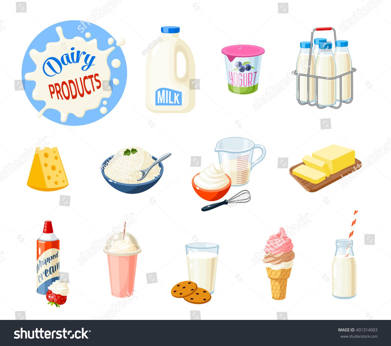 Set Cartoon Food Dairy Products Milk Stock Vector