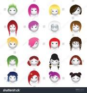 set cartoon heads hairstylesvector