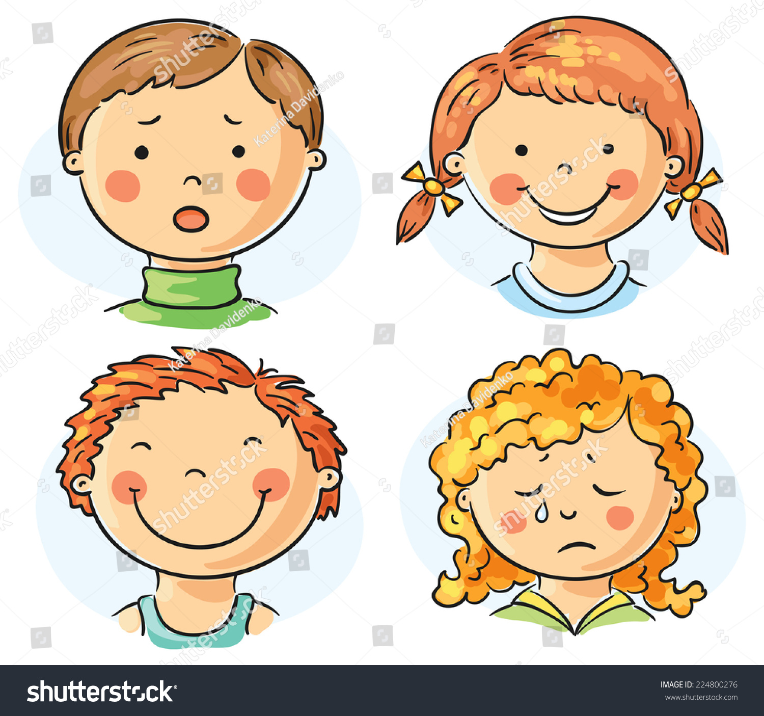 Set Of 4 Cartoon Kids Faces With Different Emotions Stock