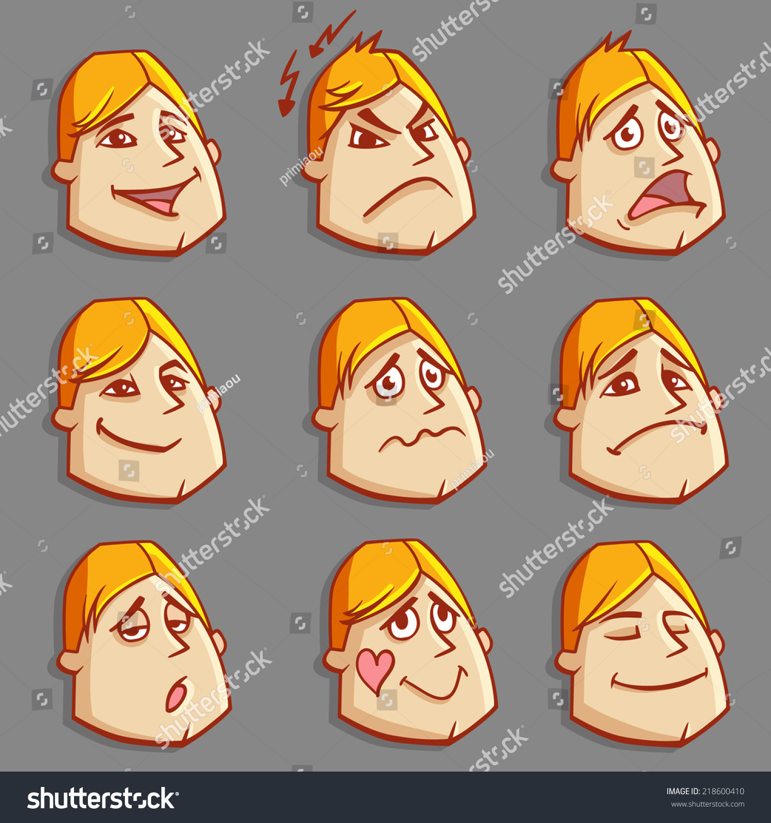 Set Cartoon Man Face Emotions Vector Stock Vector