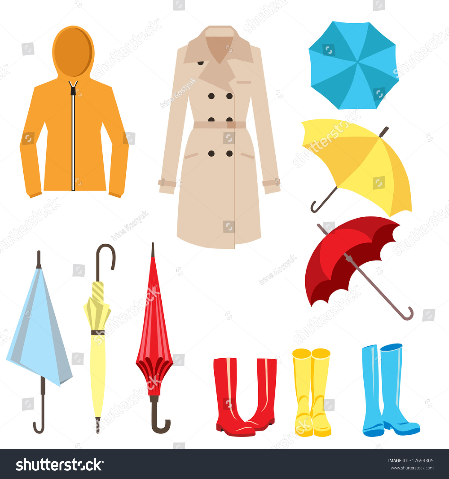 Set Clothes Accessories Rainy Weather Umbrella Stock