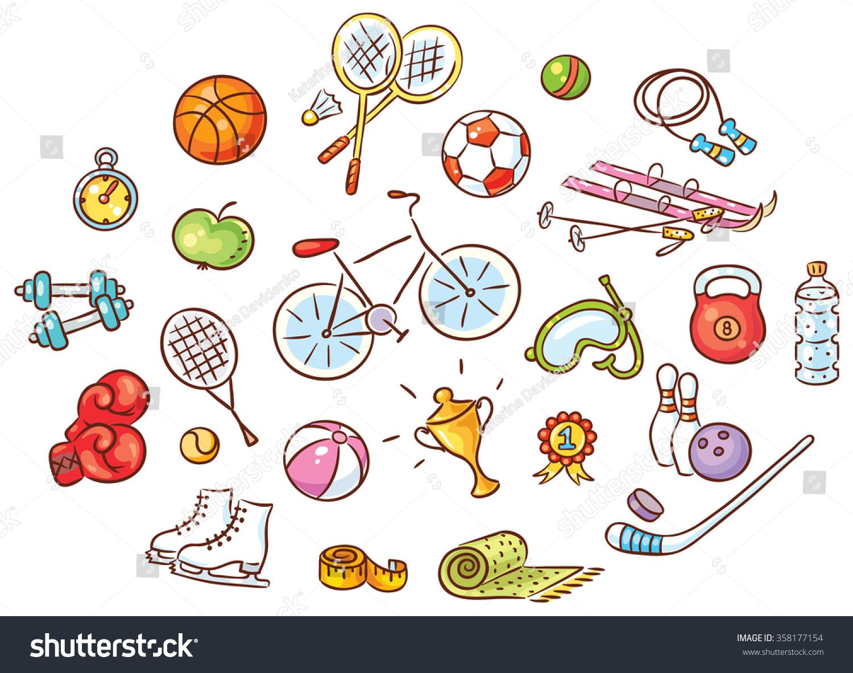 set colorful cartoon sport