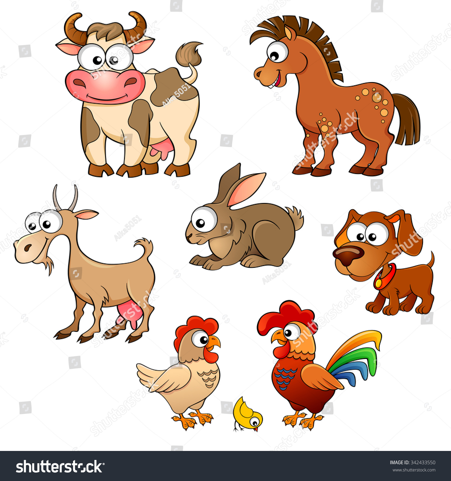 Set Cute Cartoon Farm Animals Horse Stock Vector