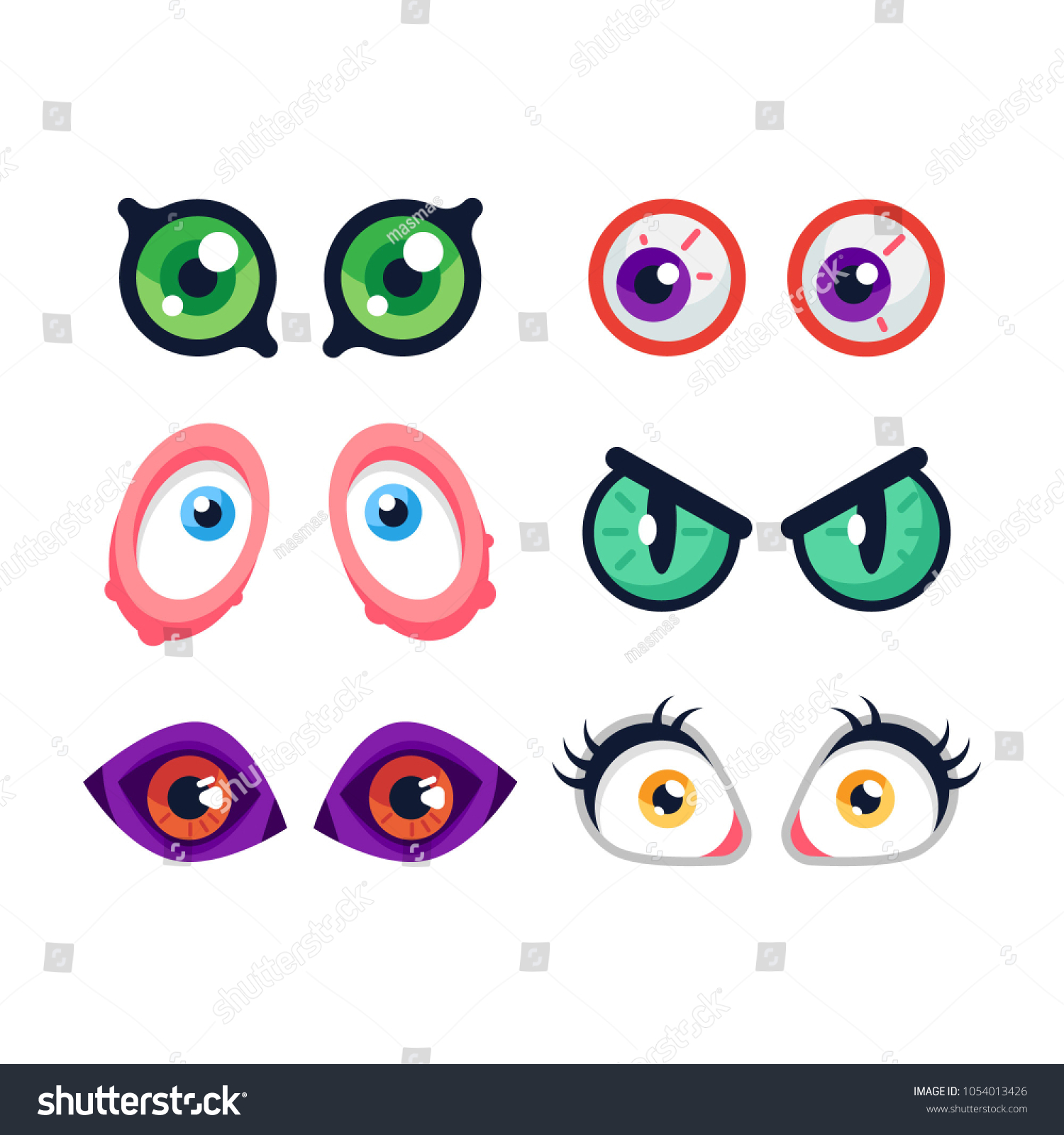 hight resolution of set of cute cartoon monster eyes on white background flat vector illustration