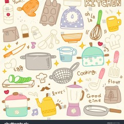 Cute Kitchen Gadgets High Tables Set Spices Utensils Doodle Stock Vector