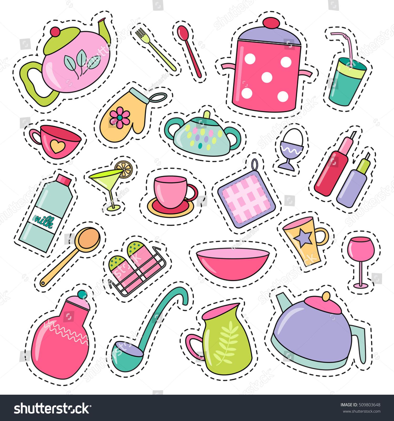 cute kitchen gadgets best faucet brand set multicolored patch badges stock vector