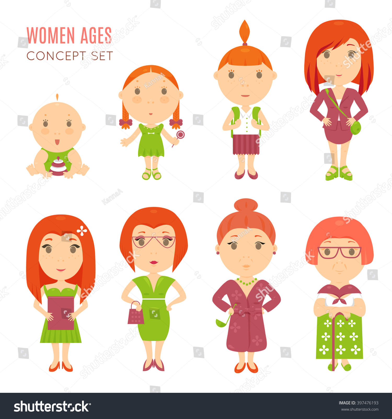 Set Cute Pretty Women Age Flat Stock Vector