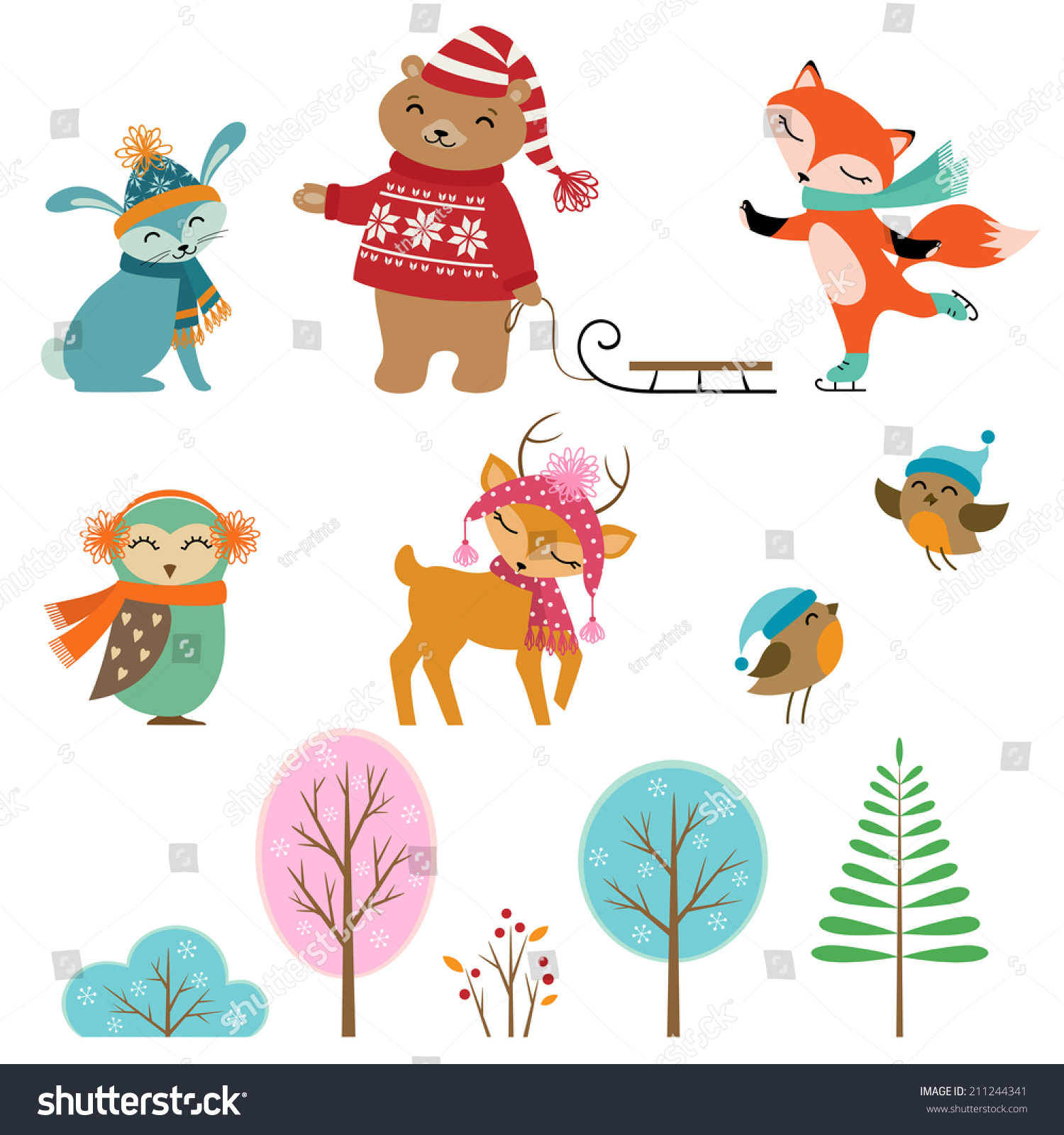 Set Cute Winter Animals Trees Your Stock Vector