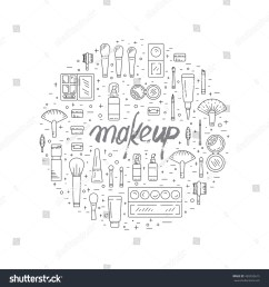 set of decorative cosmetics for makeup in a outline style  [ 1500 x 1600 Pixel ]