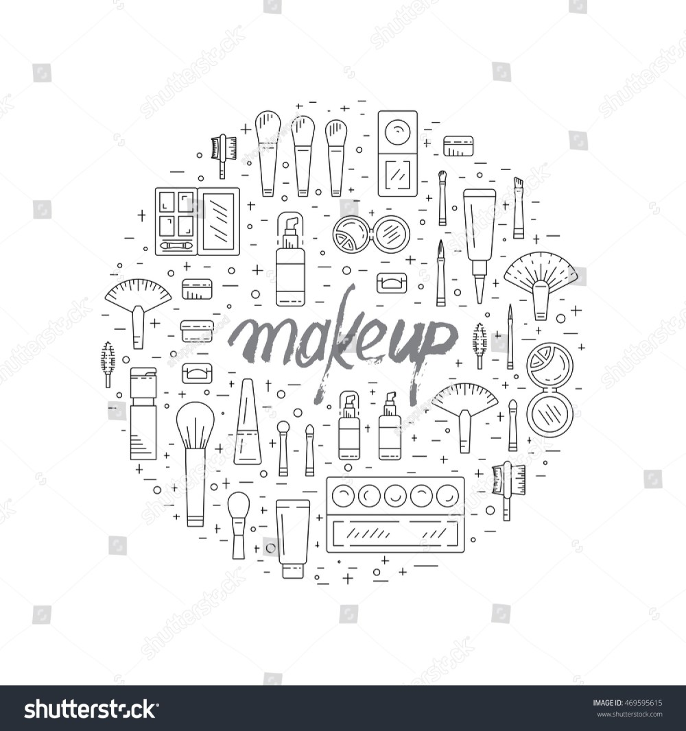 medium resolution of set of decorative cosmetics for makeup in a outline style