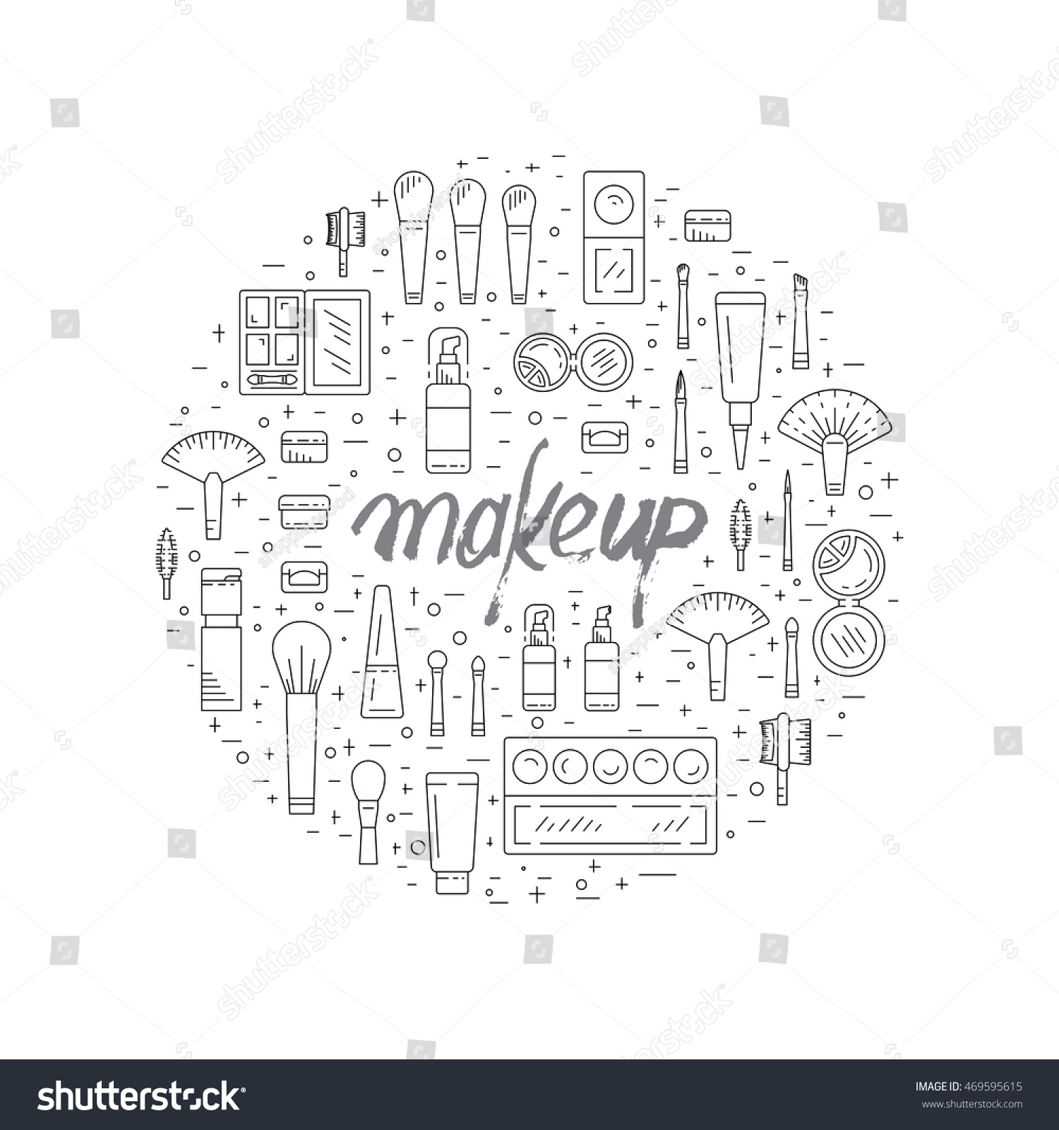 hight resolution of set of decorative cosmetics for makeup in a outline style