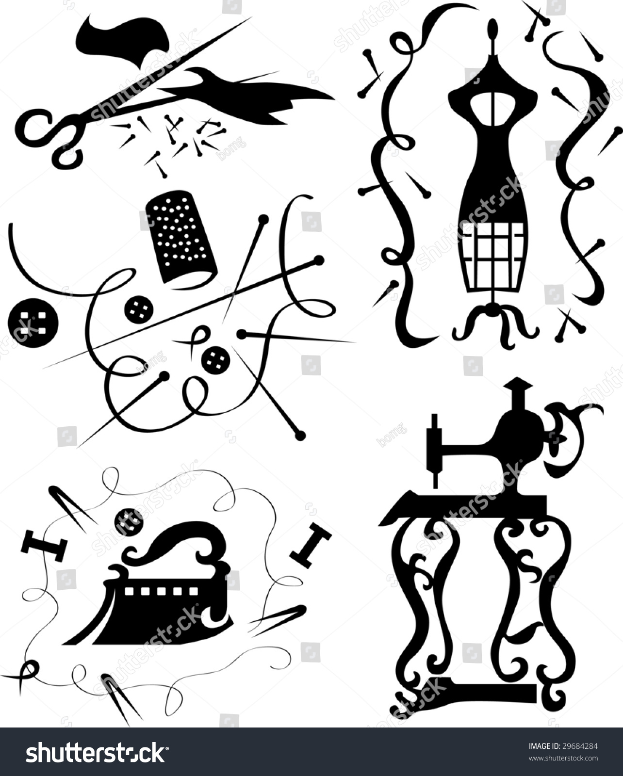 Set Of Decorative Elements Of The Fashion Designer Of