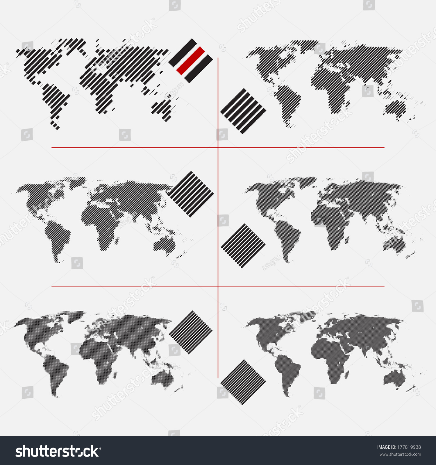 Set Of Dotted World Maps In Different Resolution Stock