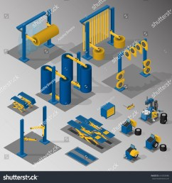 set of equipment for car service and car wash vector isometric illustration  [ 1500 x 1543 Pixel ]
