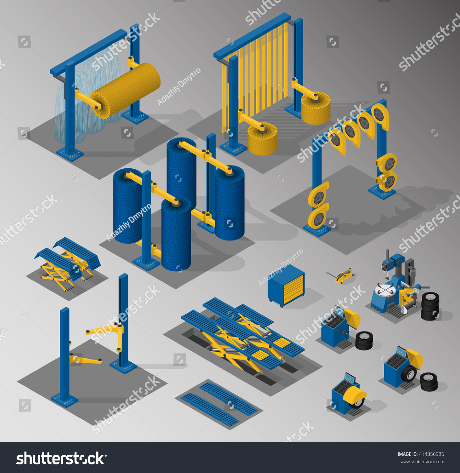 hight resolution of set of equipment for car service and car wash vector isometric illustration