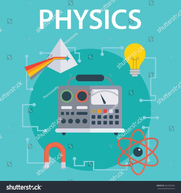 Set Flat Design Illustration Concepts Physics Stock Vector