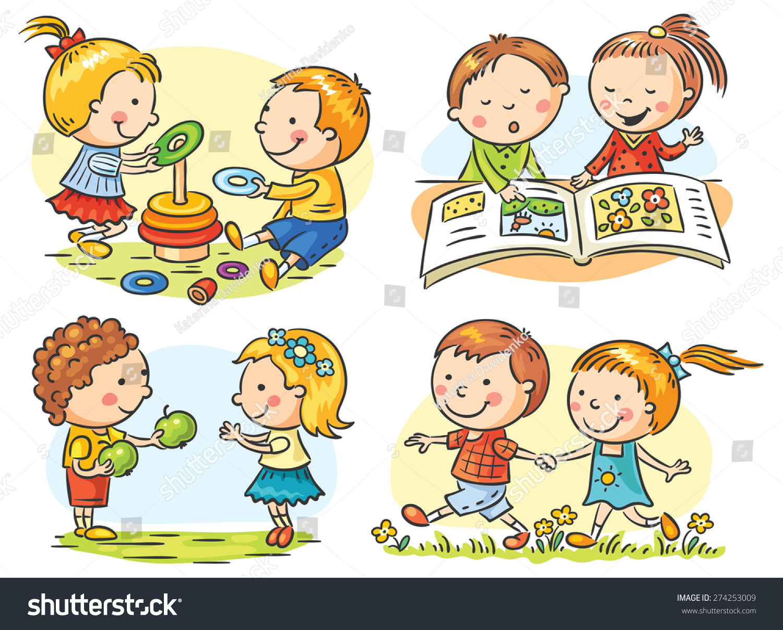 Set Four Cartoon Illustrations Kids Communication Stock