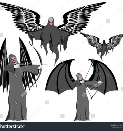 set of four grim reapers with scythe and wings skull face vector on white [ 1500 x 1434 Pixel ]