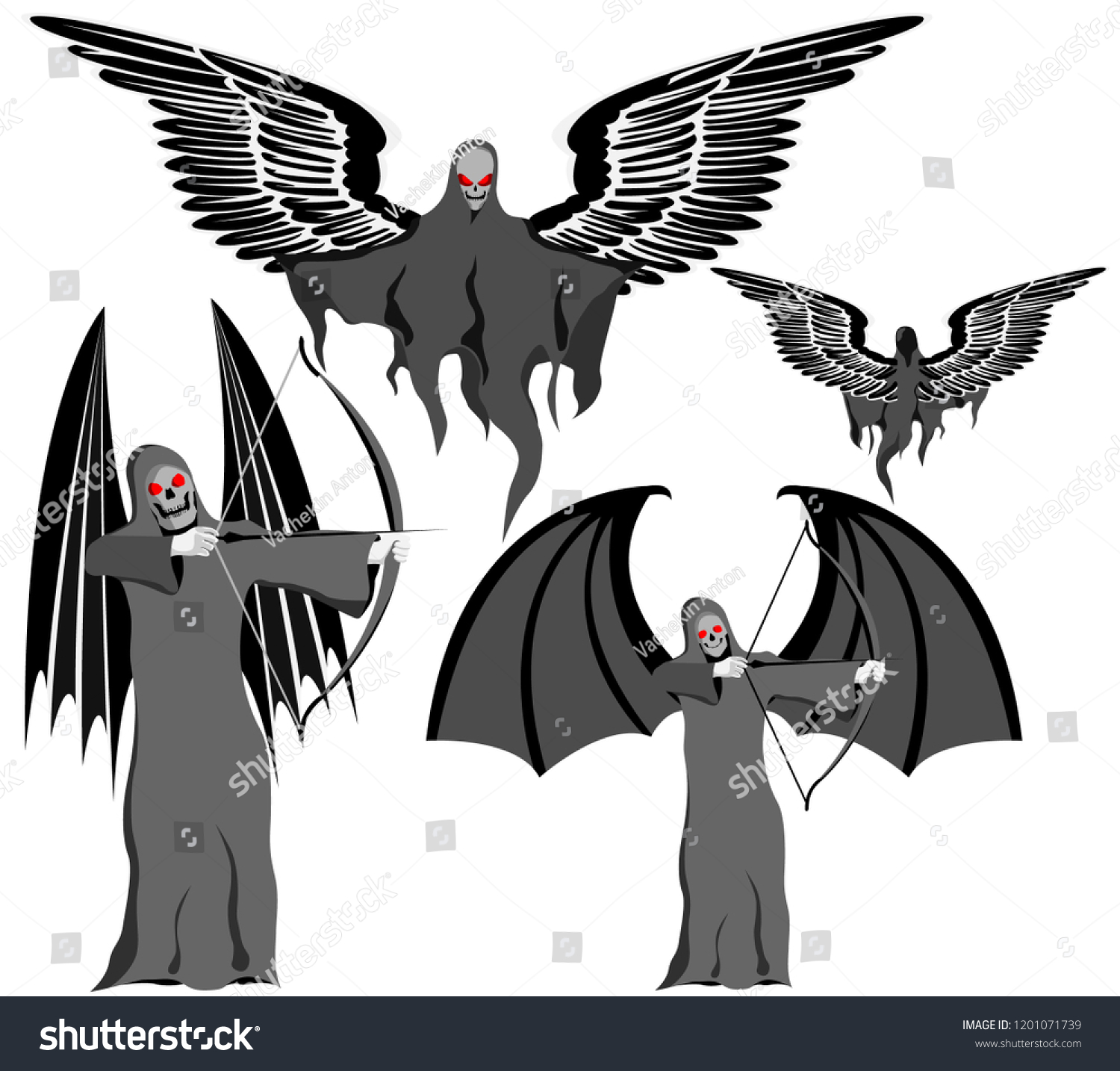 hight resolution of set of four grim reapers with scythe and wings skull face vector on white