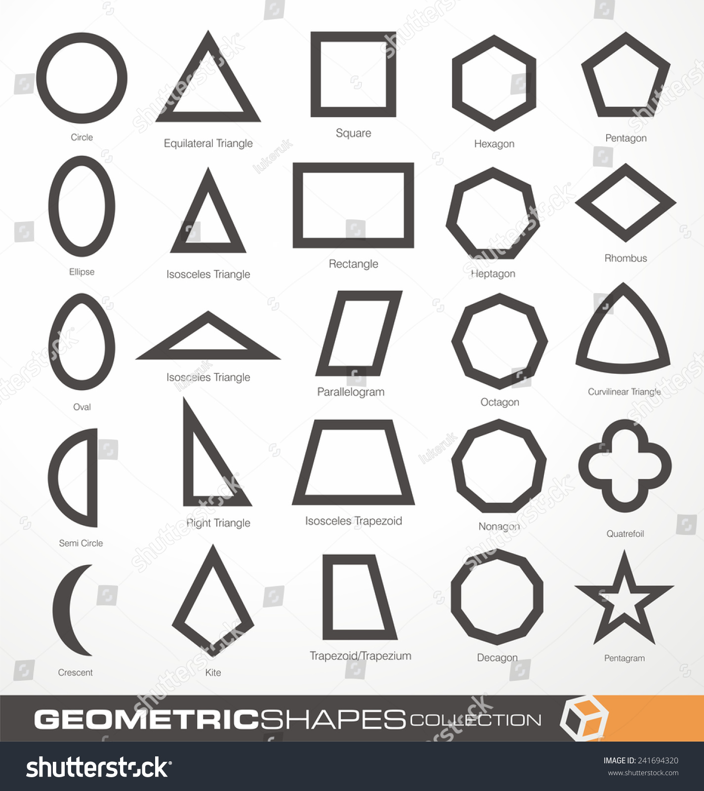 Set Of Geometric Shapes Basic Geometry Objects Vector