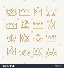 Set Gold Crown Icons Collection Stock Vector