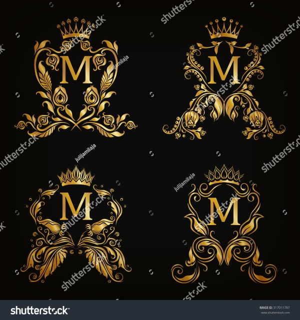 Set Gold Monogram Graphic Design Stock Vector 317011787