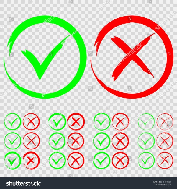 Set Green Check Mark Red Stock Vector 615180281