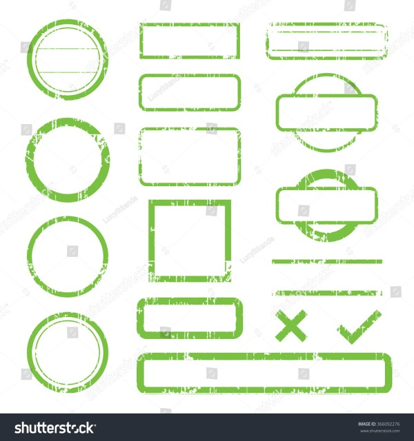 Set Green Rubber Ink Stamp Shapes Stock Vector 366092276