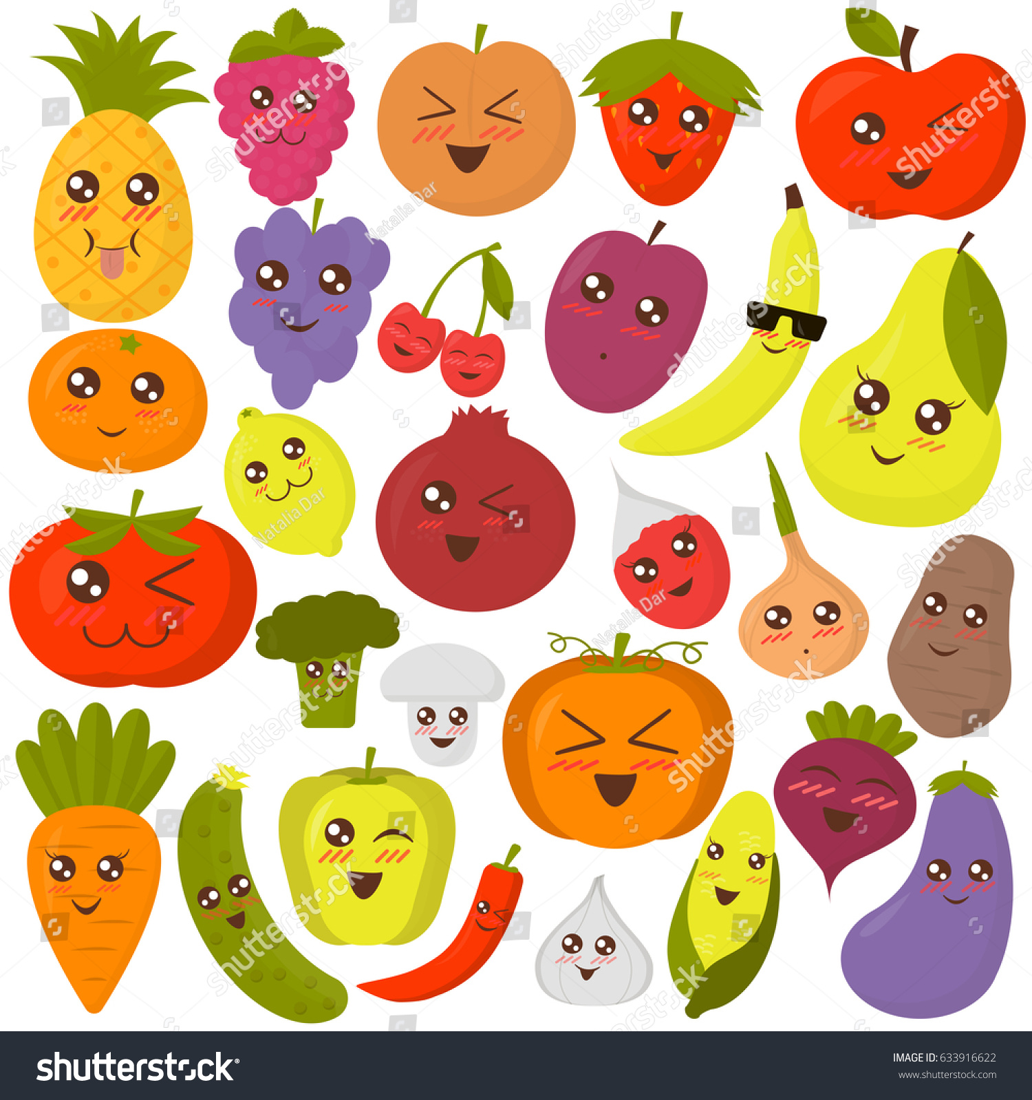 Set Happy Cute Fruits Vegetables Stickers Stock Vector
