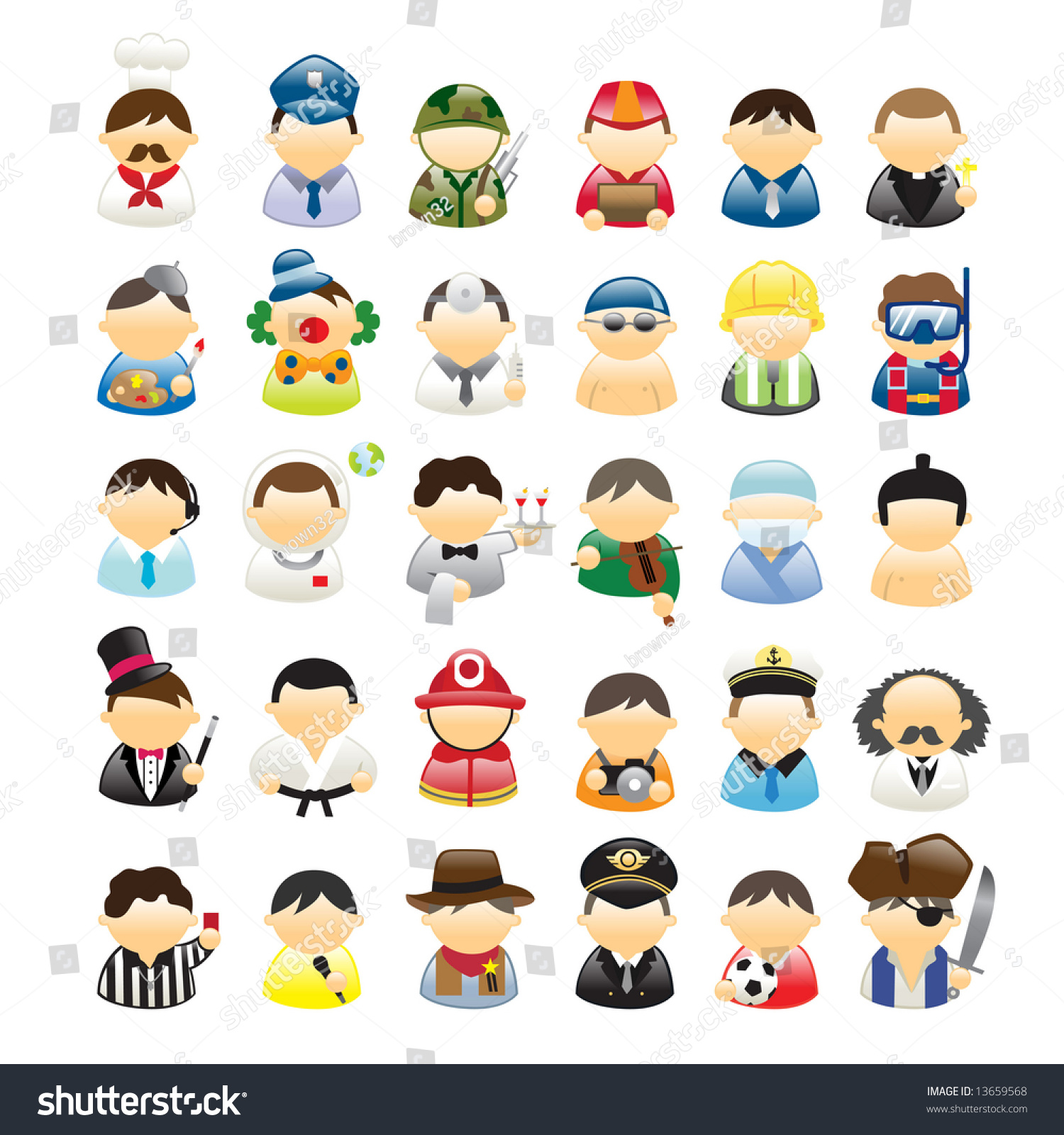 Set Icons Occupations Stock Vector