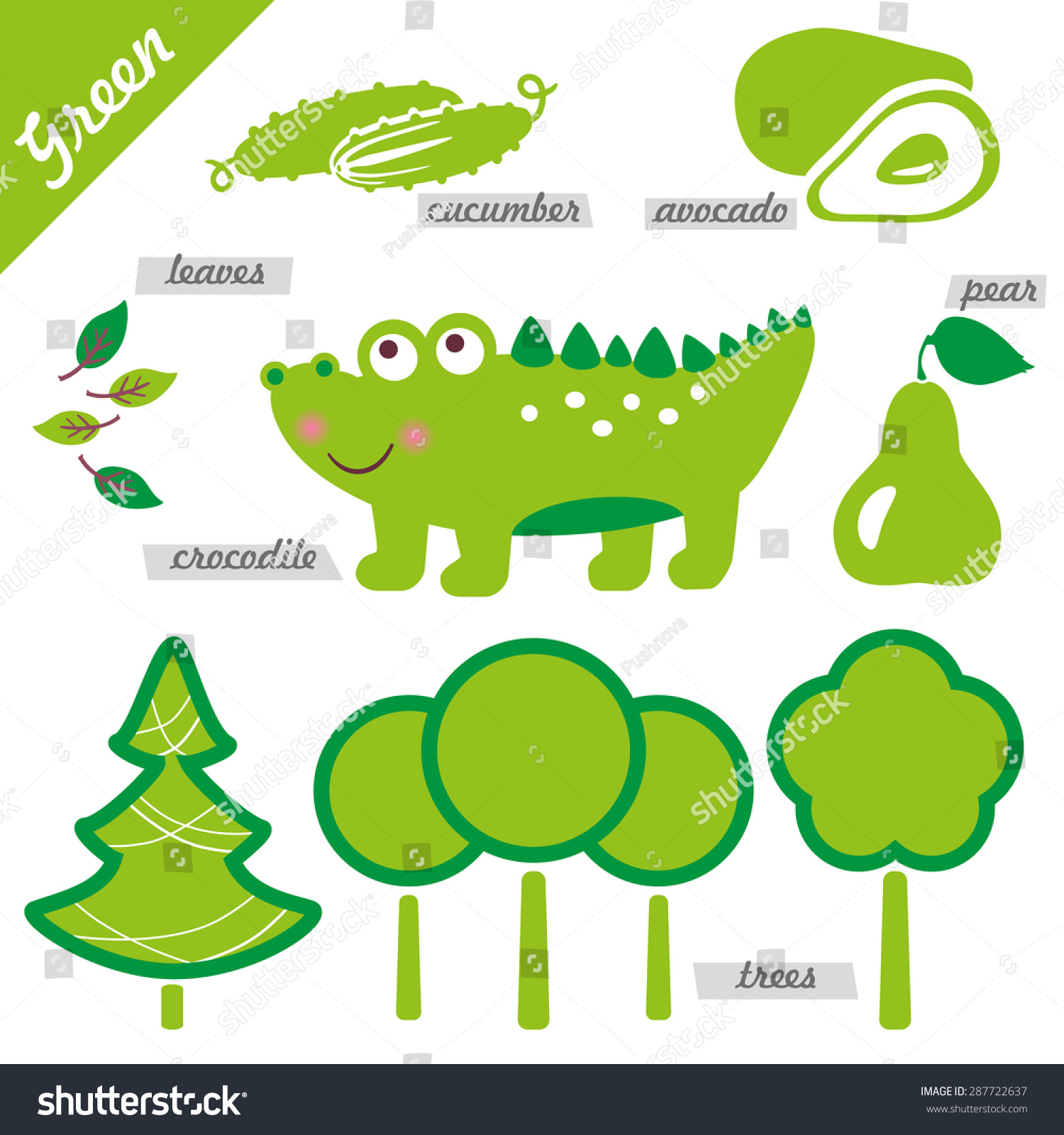 Set Images Examples Green Color Kids Stock Vector