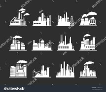 Set Industry Manufactory Building Icons Plant Stock Vector