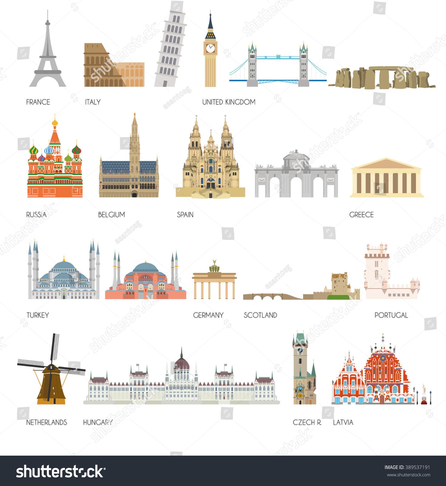 Set 20 Monuments Landmarks Europe Vector Stock Vector