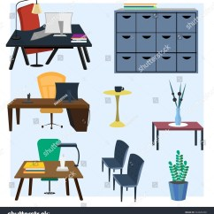 Office Chair Illustration Fishing Earth Products Set Furniture Interior Vector Stock