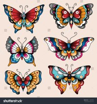 Set Of Old School Tattoo Art Butterflies For Design And ...