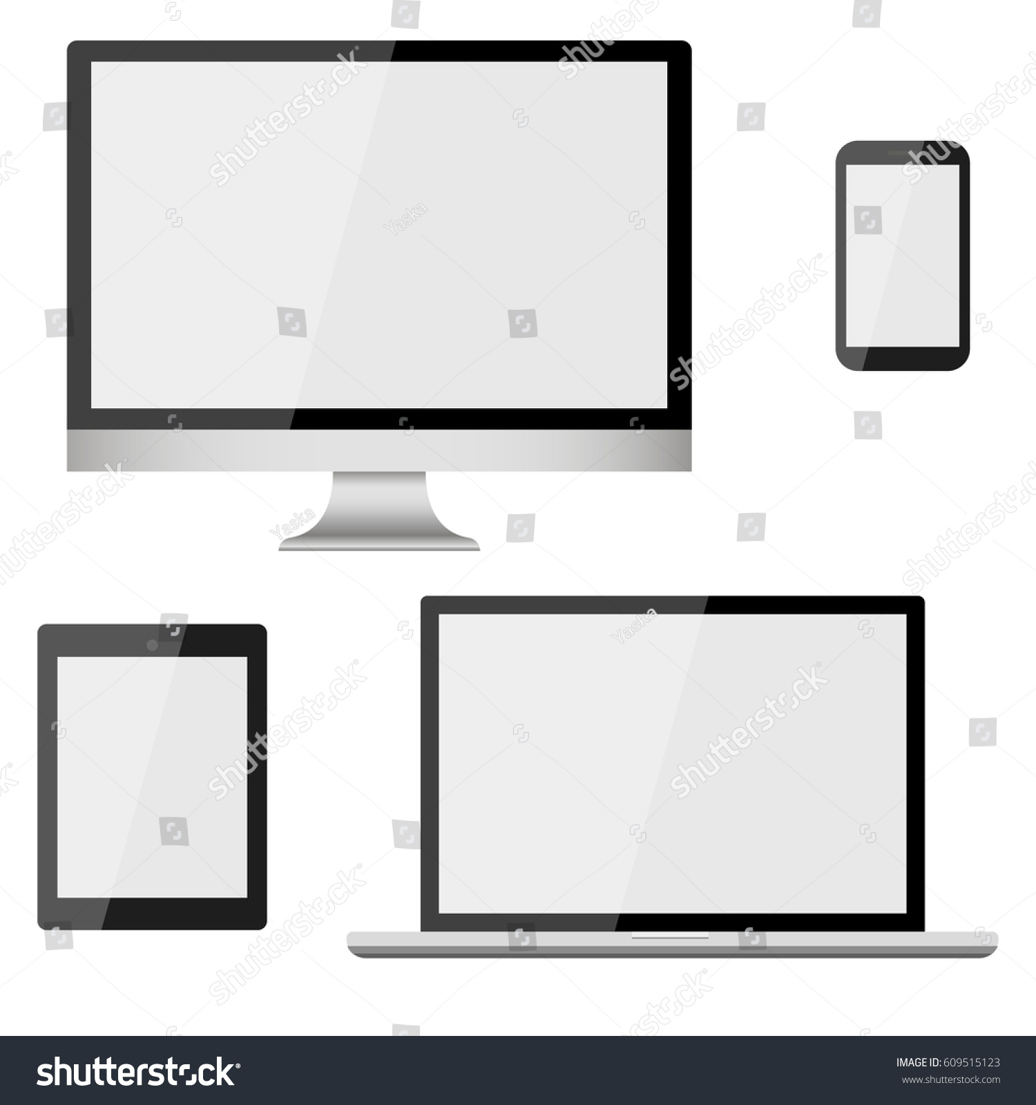 hight resolution of set of realistic modern blank screen lcd led tv monitor laptop notebook pad phone on isolate background vector