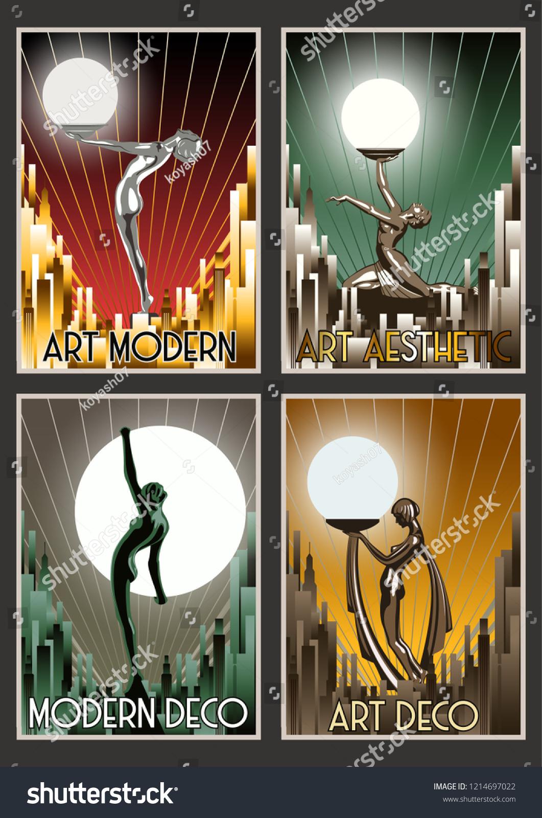 https www shutterstock com image vector set retro posters roaring twenties art 1214697022