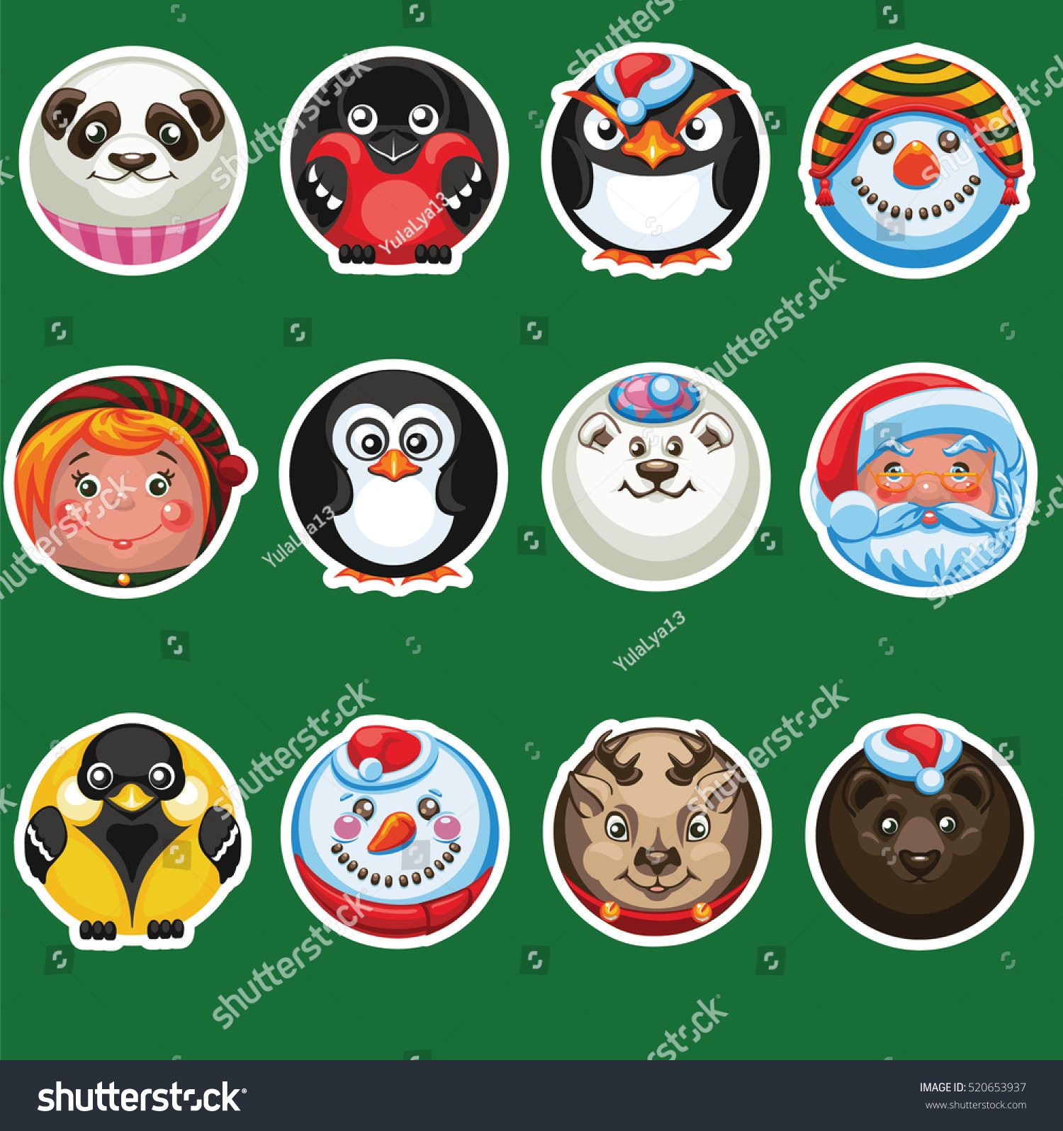 hight resolution of set of round stickers with an image of smiles christmas characters