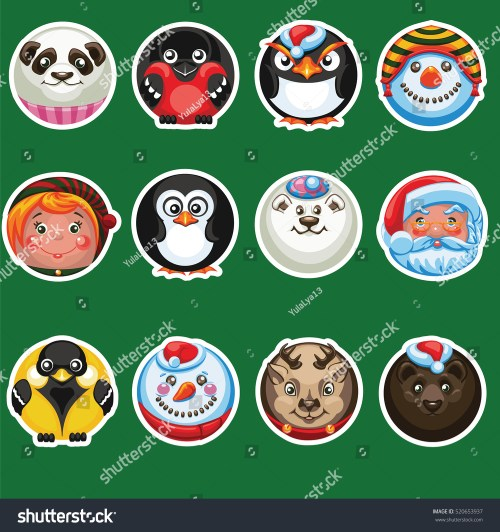 small resolution of set of round stickers with an image of smiles christmas characters