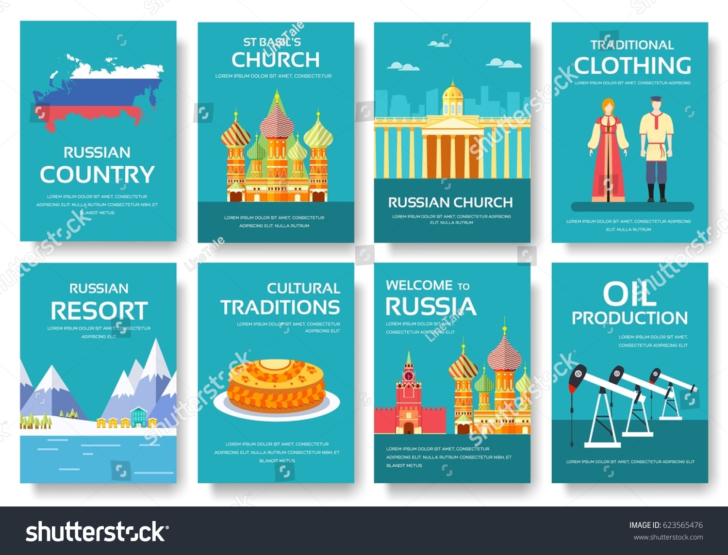 Set Russia Country Ornament Travel Tour Stock Vector