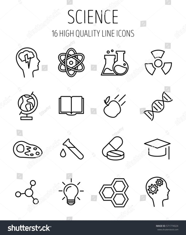 Set Science Icons Modern Thin Line Stock Vector 571774024