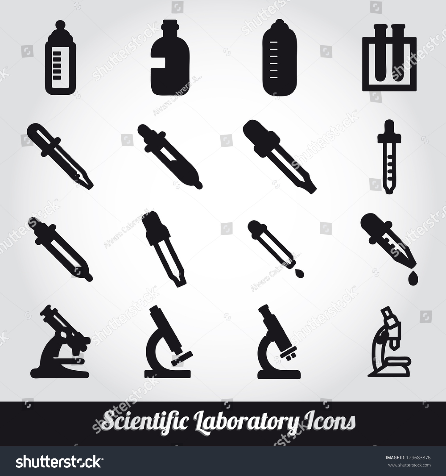 Set Scientific Laboratory Equipment Symbols Stock Vector