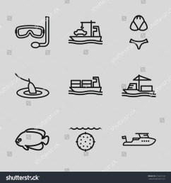 set of 9 sea outline icons such as fish boat cargo ship swimsuit [ 1500 x 1600 Pixel ]