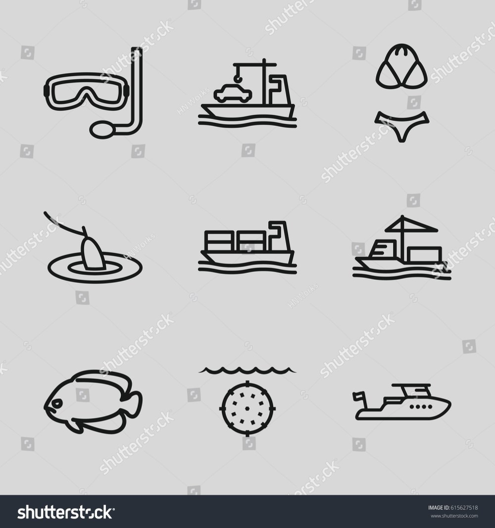 medium resolution of set of 9 sea outline icons such as fish boat cargo ship swimsuit