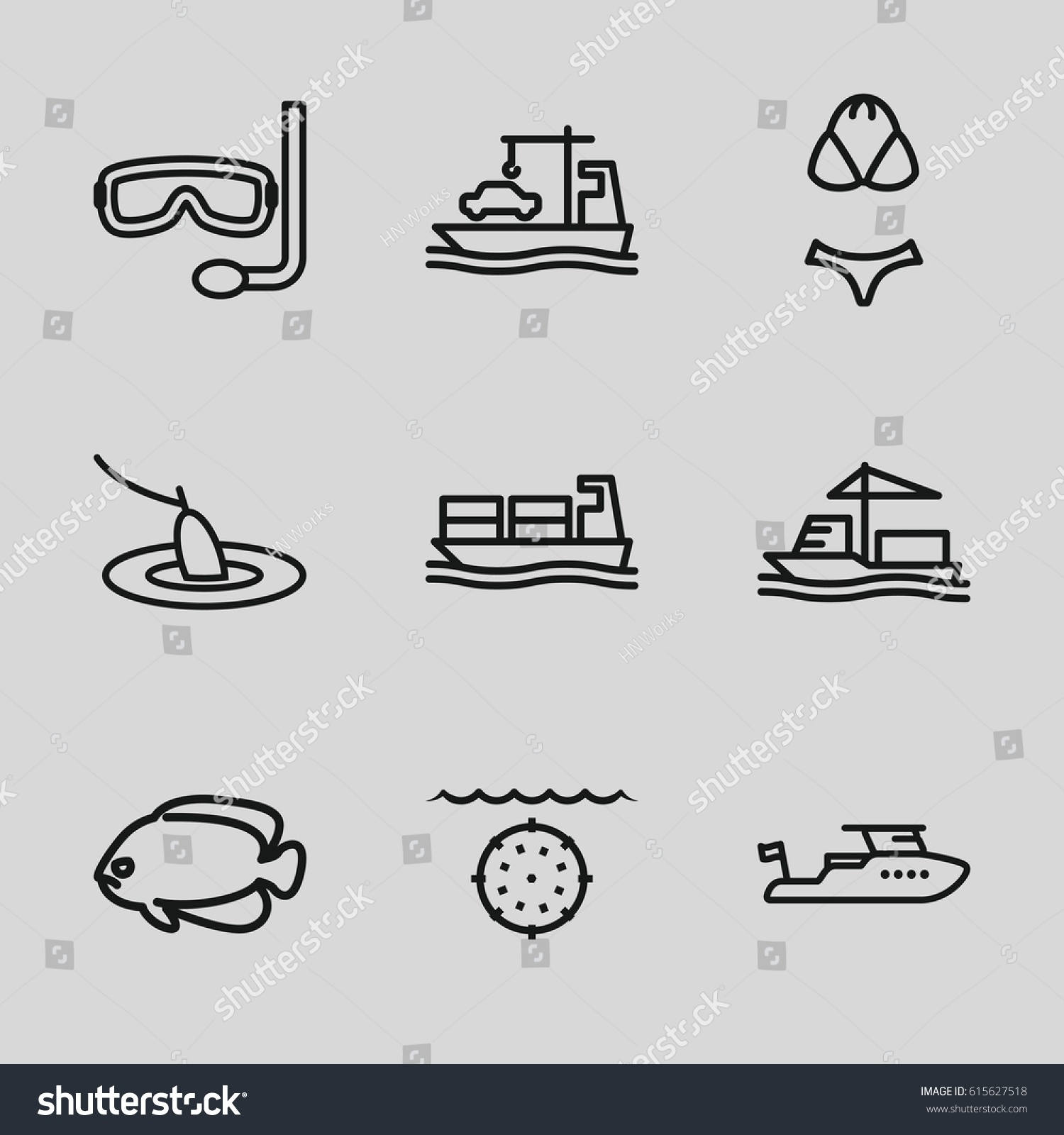 hight resolution of set of 9 sea outline icons such as fish boat cargo ship swimsuit