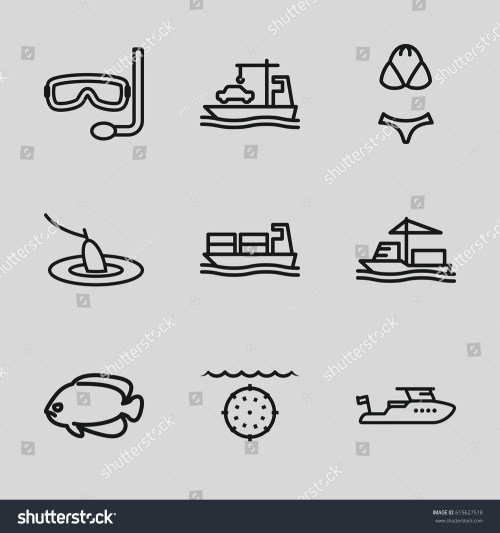 small resolution of set of 9 sea outline icons such as fish boat cargo ship swimsuit