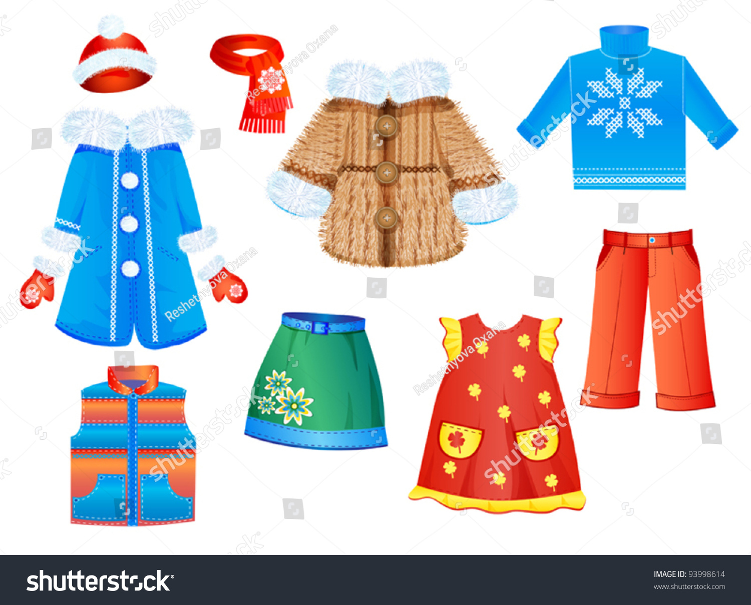 Set Seasonal Clothes Girls Vector Illustration Stock