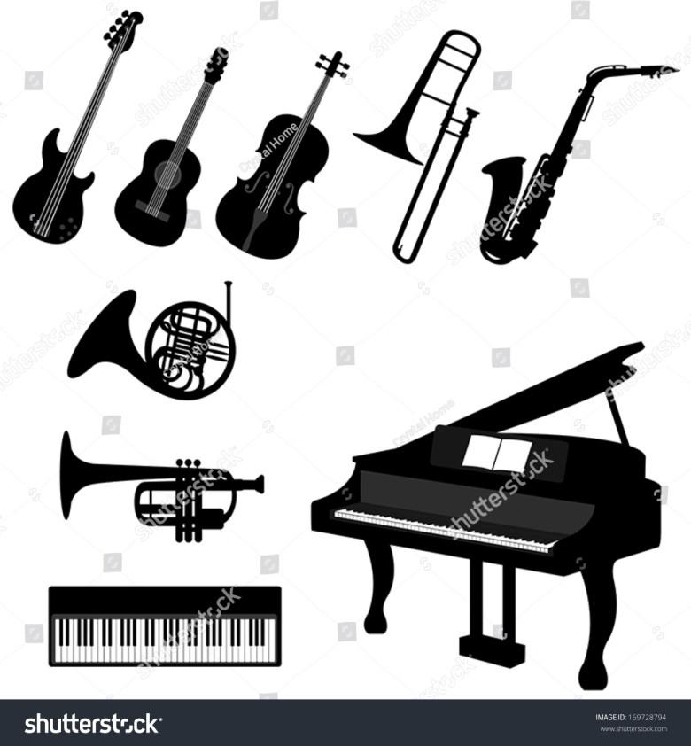 set silhouette classical jazz musical instrument stock-vektorgrafik